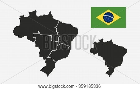 Brazil With Regions Map And Brazil Flag Isolated On White Background. Blank Map Of Brazil. Brazil Ba