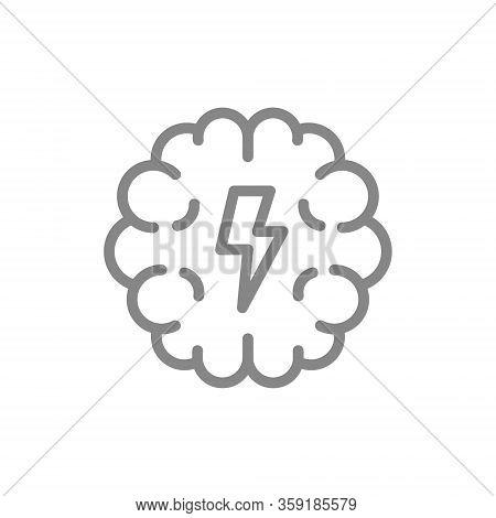 Brain With Acute Pain Line Icon. Brain Disease, Ill Symptoms, Pain Symbol