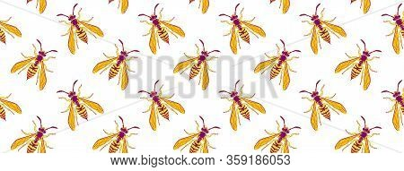 Wasp Insect Seamless Wallpaper. Dangerous Design For Textile, Fabric Texture. Yellow Bugs Cover On W