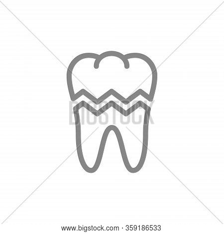 Broken Tooth Line Icon. Damaged Organ, Acute Pain, Transplant Rejection Symbol