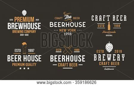 Beer, Pub And Bar Retro Logo Set. Craft Beer Logo, Poster Design With Brew Hop, Beer Bottles. Vintag