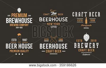 Beer, Pub And Bar Retro Logo Set. Craft Beer Logo, Poster Design With Brew Hop, Beer Bottles. Vintag