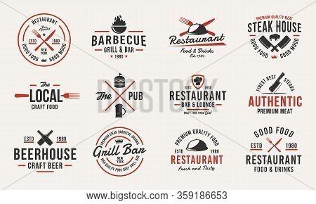 Trendy Vintage Logo Templates. Set Of 12 Emblems With Design Elements For Restaurant Business. Retro