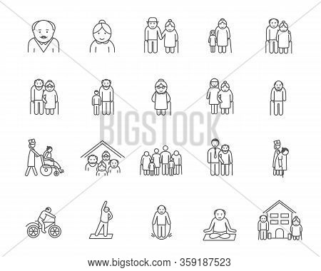 Big Set Et Of Icons Of Aged People Doing Various Activities In Black And White With Copy Space. Vect