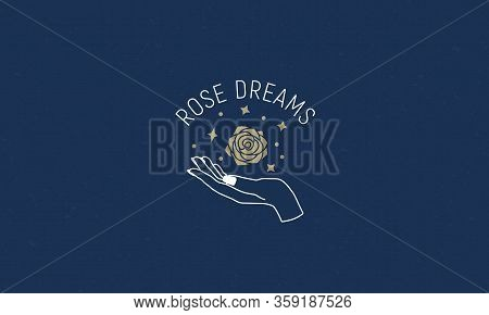 Abstract Rose Logo With Female Hand And Stars. Minimal Linear Art. Hands, Earth And Stars. Vector Gr
