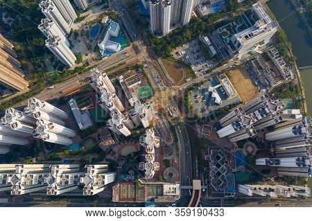 Tin Shui Wai, Hong Kong 04 October 2019: Top view of Hong Kong residential district