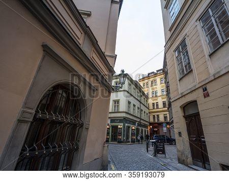 Prague, Czechia - November 3, 2019: Kozna Ulice, A Narrow Street Of The Old Town Of Prague, Called S