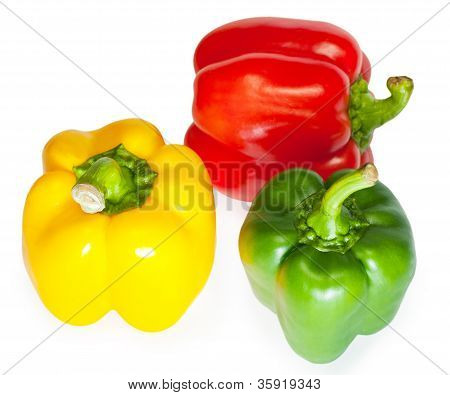 Group Fresh Sweet Pepper Isolated On White Background