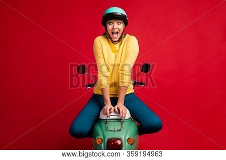 Portrait Of Her She Nice Attractive Pretty Lovely Crazy Girlish Cheerful Cheery Girl Sitting On Mope