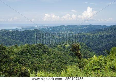 Overlooking Valley And Atlantic Ocean On North Coast Of Puerto Rico