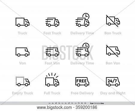 Delivery Truck Icons Set. Fast Truck, Minibus, Van, Delivery In Time, Ban, 24-7 Free Delivery. Vecto