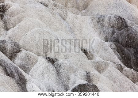 A Dormant Section Of Mammoth Hot Springs With Travertine Formations Left From Mineral And Bacteria F