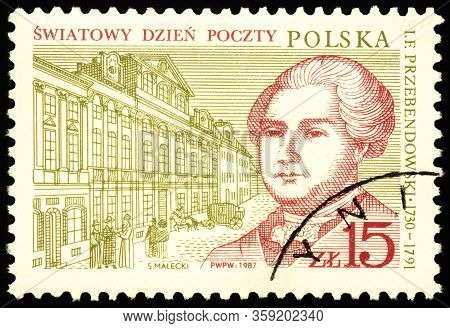 Moscow, Russia - March 30, 2020: Stamp Printed In Poland Shows Portrait Of Ignacy Franciszek Ksawery