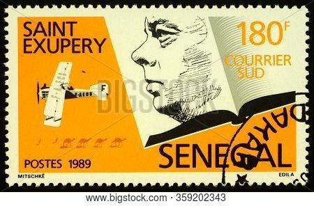 Moscow, Russia - April 01, 2020: Stamp Printed In Senegal Shows Portrait Of Antoine De Saint-exupery