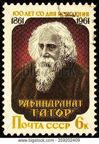 Moscow, Russia - April 03, 2020: Stamp Printed In Ussr (russia) Shows Portrait Of Rabindranath Tagor