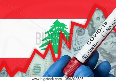 Coronavirus In Lebanon. Positive Blood Test On Flag Background. Increase In Incidence. Economic Cris