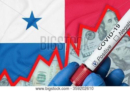 Coronavirus In Panama. Positive Blood Test On Flag Background. Increase In Incidence. Economic Crisi