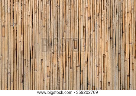 Old Brown Bamboo Background. Wall Of Bamboo. Rural Rustic Background.