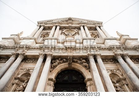 Facade of Church of St. Mary of Nazareth (Chiesa degli Scalzi) in Venice. Italy.