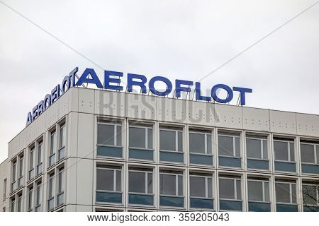 Berlin / Germany - Dec 25, 2017: Aeroflot sign in Berlin, Germany - Aeroflot is the flag carrier and largest airline of the Russian Federation