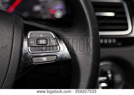 Novosibirsk, Russia - February 09 , 2020 Volkswagen Touareg,close-up Of The Multiwheel With Phone Se