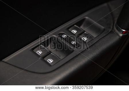 Novosibirsk, Russia - February 09 , 2020 Volkswagen Touareg, Closeup Of A Door Control Panel In A Ne