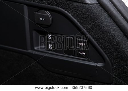 Novosibirsk, Russia - February 09 , 2020 Volkswagen Touareg,close-up Of The Trunk Release Button. Mo