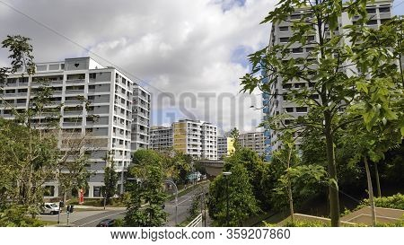 Singapore, 31 Mar, 2020: Typical View Of Singapore Residential Building Also Known As Hdb In The Aft