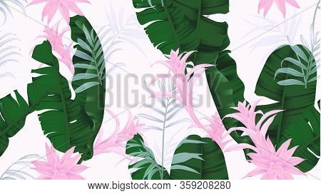Floral Seamless Pattern, Green Banana Leaves, Pink Bromeliaceae Plant And Palm Leaves On Light Gray