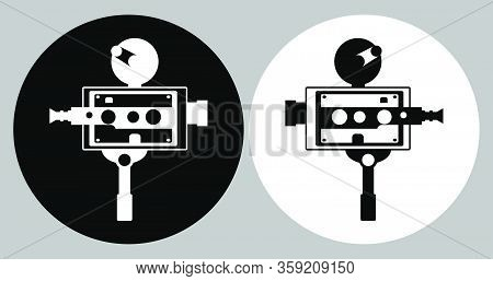 Old Vintage Portable Camcorder Logo. Filming A Movie On Retro Instrument. Film Recording Of A Movie.