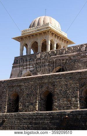 View Top Portion And Gallery At Rupamati Pavilion In Mandu, Madhya Pradesh, India, Asia