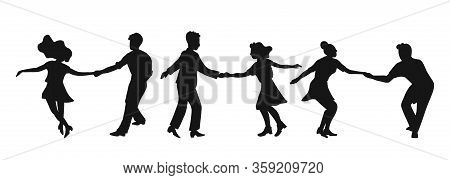 Set Of Silhouettes Couple Dancing Swing, Rock Or Lindy Hop. Retro In Flat Style Hand Drawn. Disc Cov