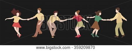 The Guy And The Girl Are Dancing Swing. Set Of Three Couple Dancing Swing, Rock Or Lindy Hop. Retro