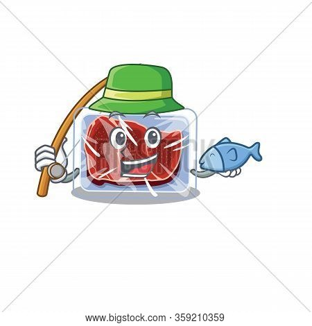 Cartoon Design Concept Of Frozen Beef While Fishing