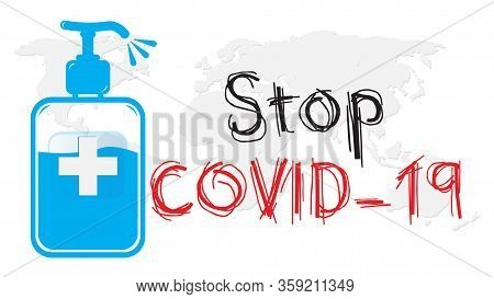 Stop Covid-19 Concept Red World Map With Stop Covid-19 Sign Vector Illustration. Covid-19 Prevention