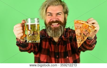 Pizza Is Better When Shared. Pizzeria Restaurant. Gourmet Food. Cheerful Man Bearded Hipster Hold Pi