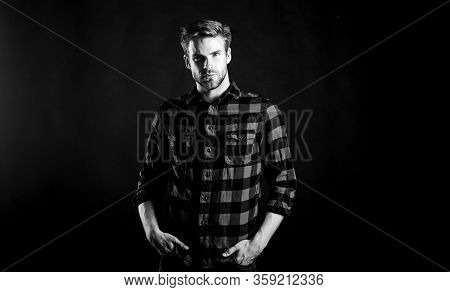 Barbershop And Beauty Salon. Hipster Black Background. Standards Of Manliness Or Masculinity. Handso