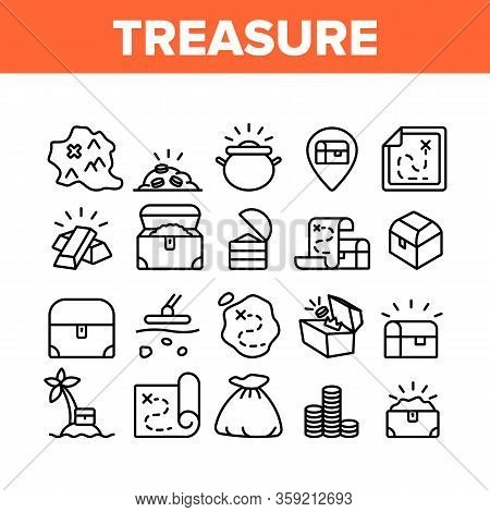 Treasure Pirate Gold Collection Icons Set Vector. Treasure Chest And Bag With Golden Coins, Map With