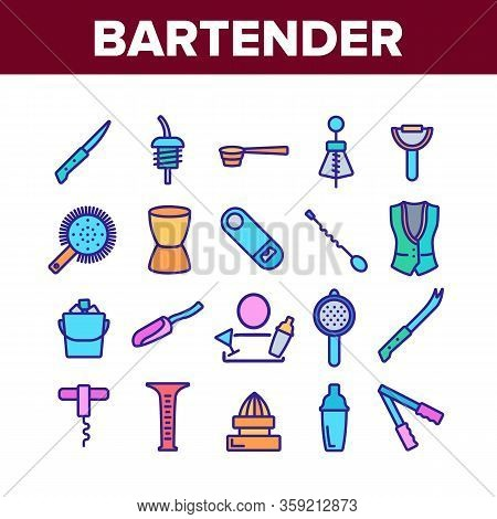 Bartender Equipment Collection Icons Set Vector. Bartender Shaker And Bucket With Ice, Opener And Co