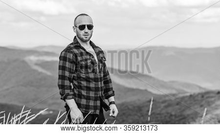 Man Traveler. Travelling Adventure. Hipster Fashion. Countryside Concept. Farmer On Rancho. Cowboy I