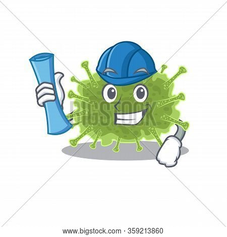 Cartoon Character Of Haploviricotina Brainy Architect With Blue Prints And Blue Helmet