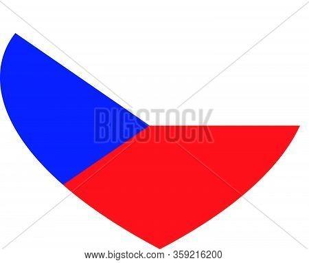 Heart Shaped Flag Of Czech Republic. Vector Illustration Of National Flag. Love For Homeland.
