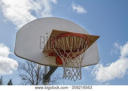 A Basketball Hoop Blocked For Use During Covid-19
