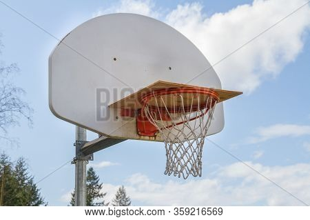 A Basketball Hoop Closed For Playing Due To Pandemic Outbreak.