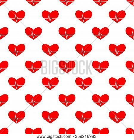 Medic Red Heart Pattern On White Bg Vector Eps 10 Design