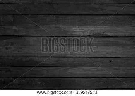 Grunge Dark Wood Plank Texture Background. Vintage Black Wooden