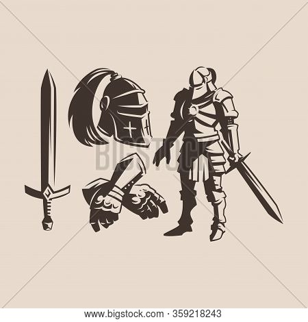 Metal Protective Suit From The Armor Of A Medieval Warrior With A Ponytail. Knight With A Sword In A