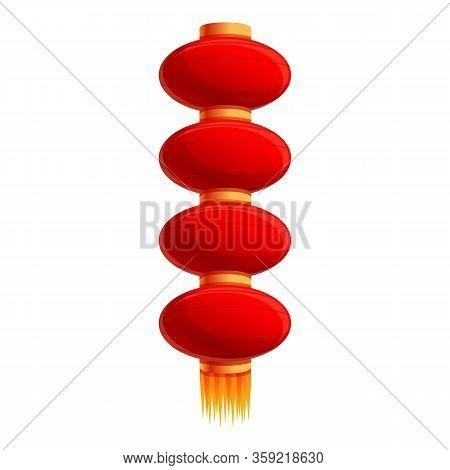Multiple Chinese Lantern Icon. Cartoon Of Multiple Chinese Lantern Vector Icon For Web Design Isolat