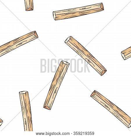 Sticks Hand-drawn Boho Seamless Pattern. Palo Santo Herb Bundle Background