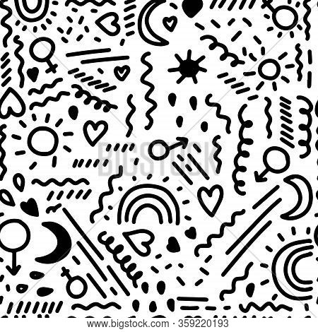 Seamless Pattern With Different Elements: Feminine And Masculine Signs, Rainbows, Curves, Dashes, Cu